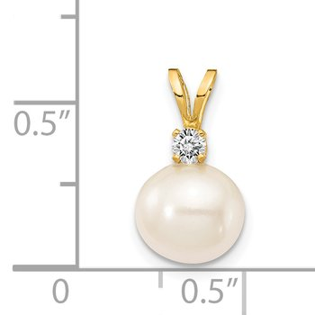 14k 7mm FW Cultured Pearl AA Diamond Pendant