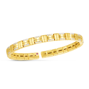 18K VENETO WOVEN SINGLE ROW CUFF BANGLE W. DIAMOND ACCENT