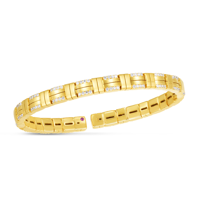 Roberto Coin 18K VENETO WOVEN SINGLE ROW CUFF BANGLE W. DIAMOND ACCENT