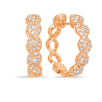 Rose Gold Diamond Hoop Earring