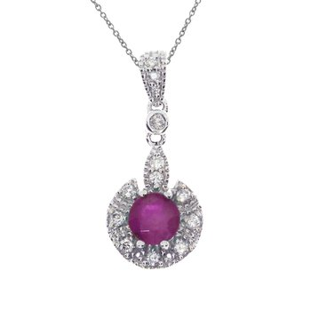 14k White Gold Ruby Round Pendant
