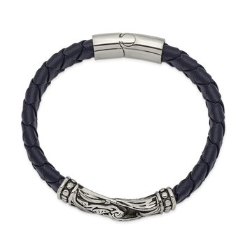 Stainless Steel Antiqued and Polished Blue Leather 8.75in Bracelet