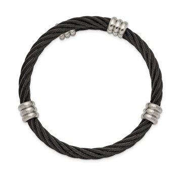 Stainless Steel Brushed and Polished Black IP Wire Flexible Bangle