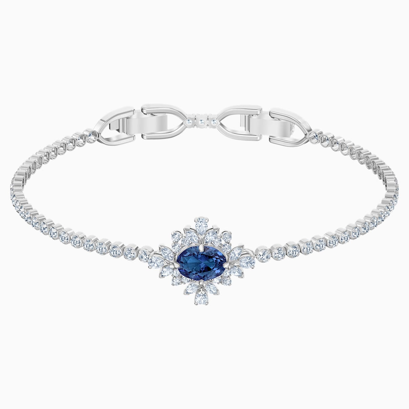 Swarovski Palace Bracelet, Blue, Rhodium plated