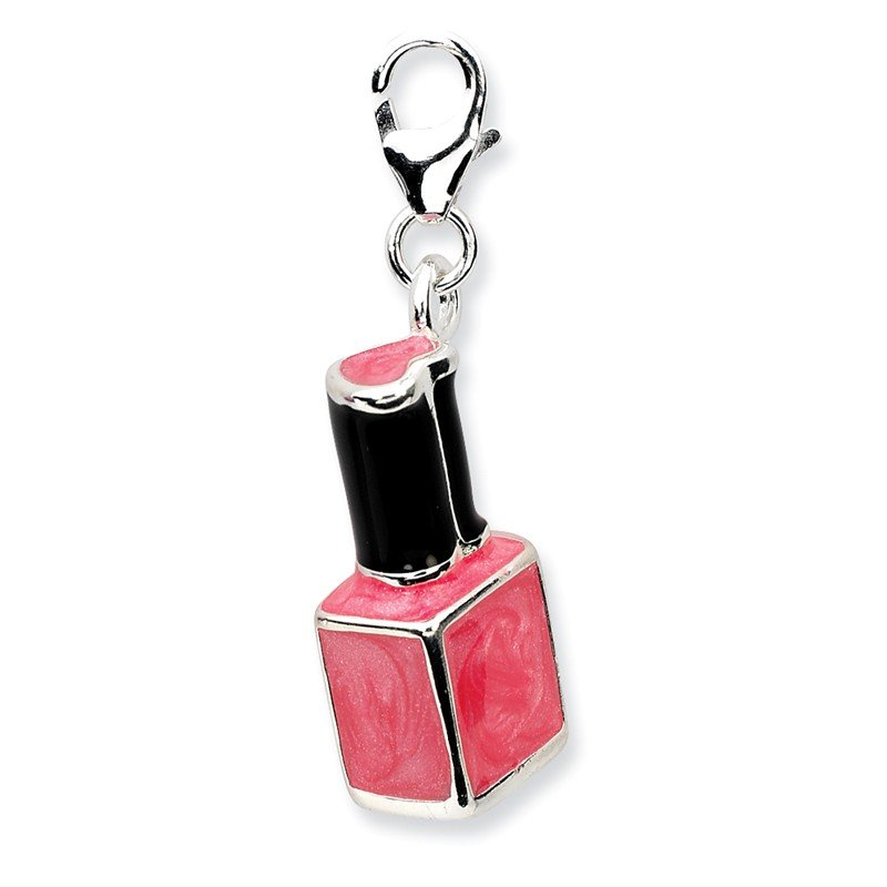 Quality Gold Sterling Silver 3-D Enameled Pink Nailpolish Bottlew/Lobster Clasp Charm