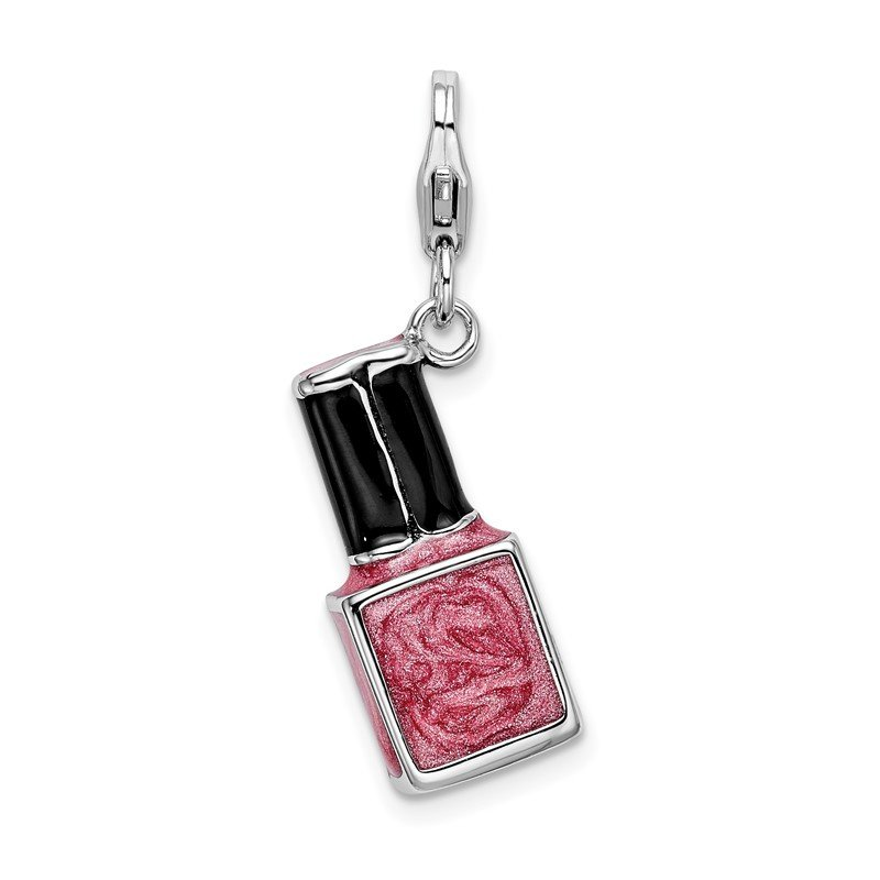 Quality Gold SS RH 3-D Enameled Pink Nail polish Bottle w/Lobster Clasp Charm