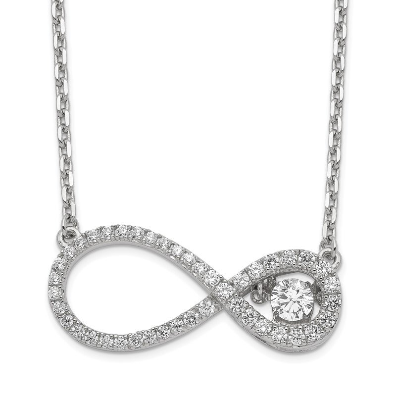 Quality Gold Sterling Silver Polished Vibrant CZ Infinity Necklace
