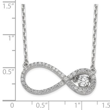 Sterling Silver Polished Vibrant CZ Infinity Necklace