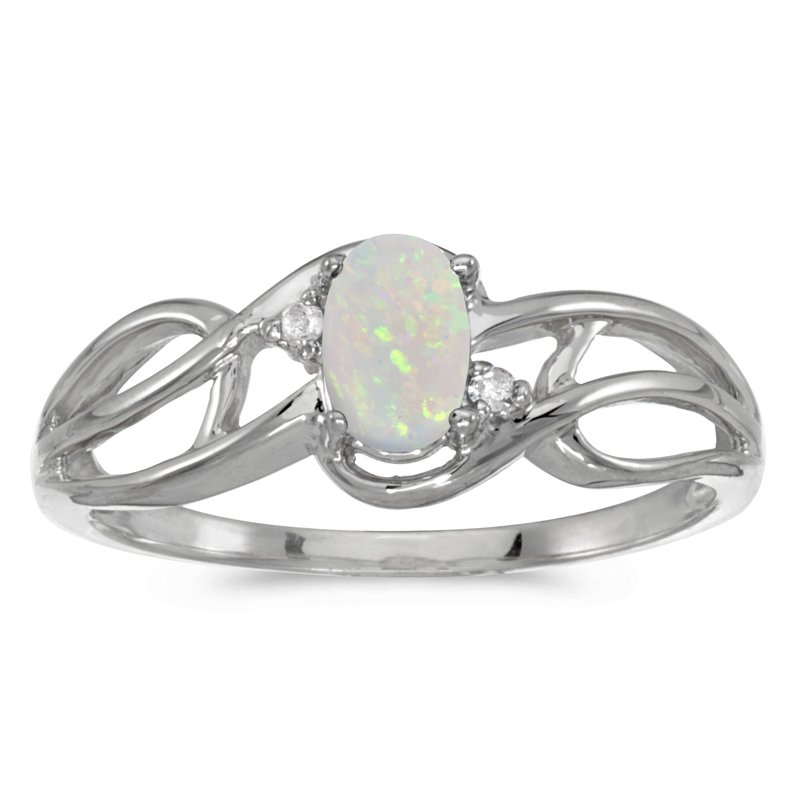 10k White Gold Oval Opal And Diamond Curve Ring