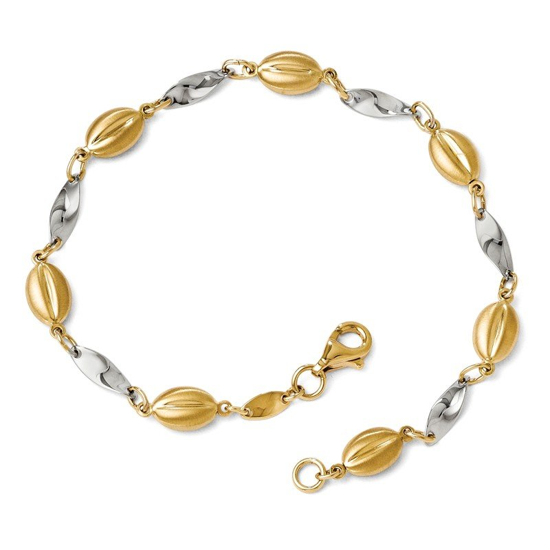 Leslie's Leslie's 14k Two-tone Polished and Satin Bracelet