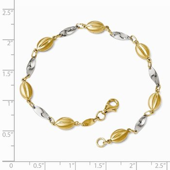 Leslie's 14k Two-tone Polished and Satin Bracelet