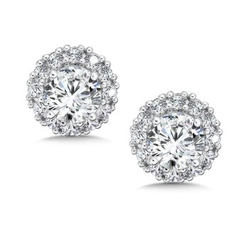 Diamond Halo Studs in14K White Gold with Platinum Post (1/2ct. tw)