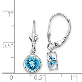 14k White Gold 6mm Blue Topaz Leverback Earrings