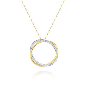Diamond and Gold Twisted Hoop Pendant Set in 14 Kt. Gold