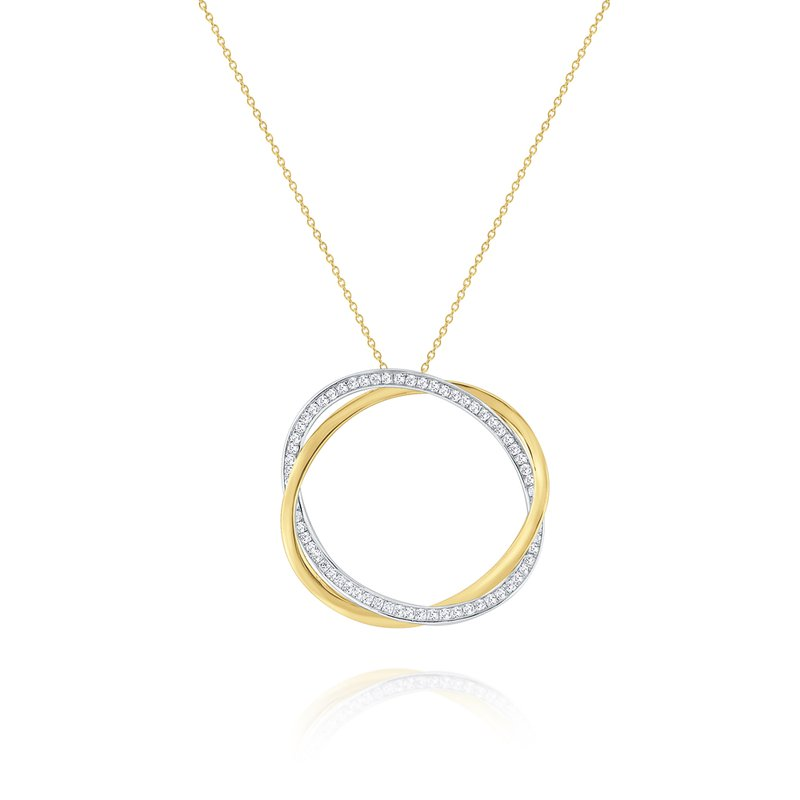 KC Designs Diamond and Gold Twisted Hoop Pendant Set in 14 Kt. Gold
