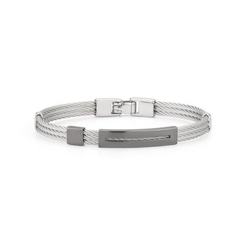 Grey Cable Bracelet with Open Rectangular Steel Station