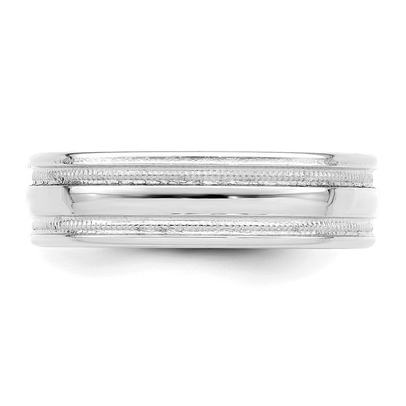 Quality Gold 14k White Gold Standard Comfort Fit Fancy Band