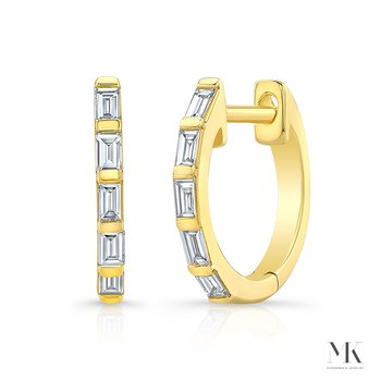 Yellow Gold Baguette Huggie Hoops