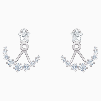 Penélope Cruz Moonsun Pierced Earring Jackets, White, Rhodium plated