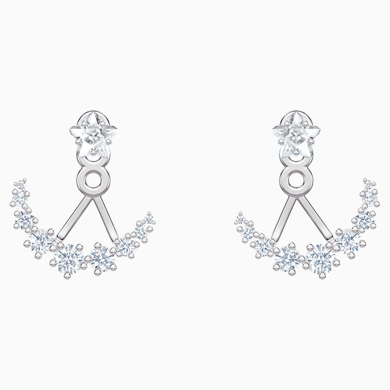 Swarovski Penélope Cruz Moonsun Pierced Earring Jackets, White, Rhodium plated