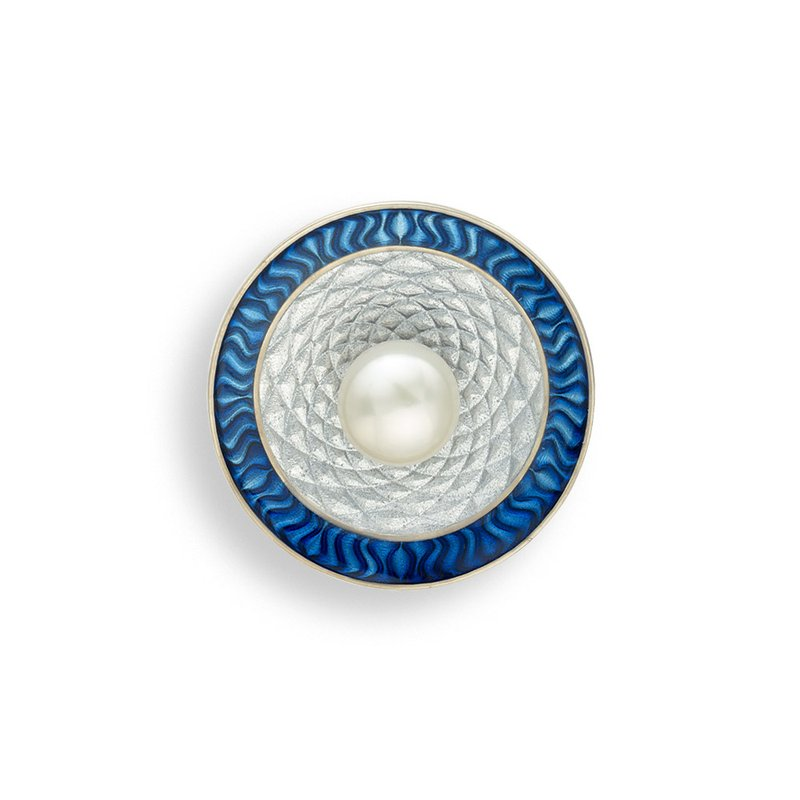 Nicole Barr Designs Blue Round Brooch-Pendant.Sterling Silver-Freshwater Pearls