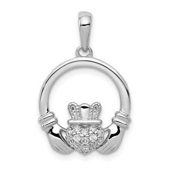 14k White Gold Diamond Claddagh Circle Pendant