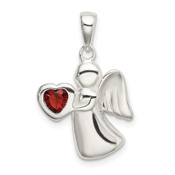 Sterling Silver Angel w/Dark Red CZ Heart Pendant