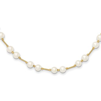 14K 6-7mm White Near Round Freshwater Cultured Pearl Bead Necklace