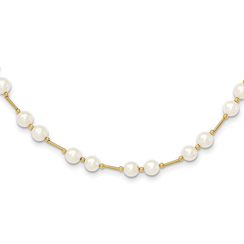 Quality Gold 14K 6-7mm White Near Round Freshwater Cultured Pearl Bead Necklace