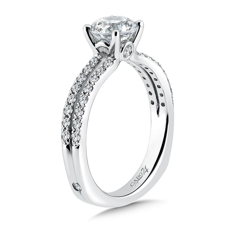 Caro74 Split Shank Engagement Ring with Side Stones in 14K White Gold (1ct. tw.)