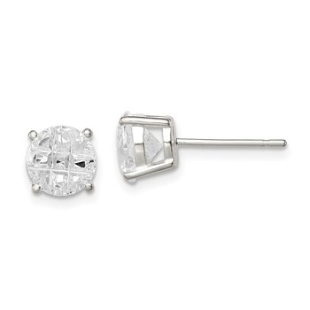 Sterling Silver 7mm Round Basket Set Laser-cut CZ Stud Earrings