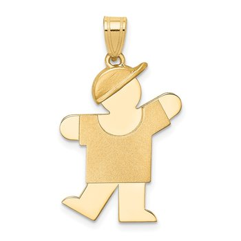14k Solid Engravable Boy with Hat on Left Charm