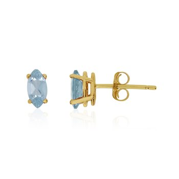 14k Yellow Gold Aquamarine Marquise Earrings