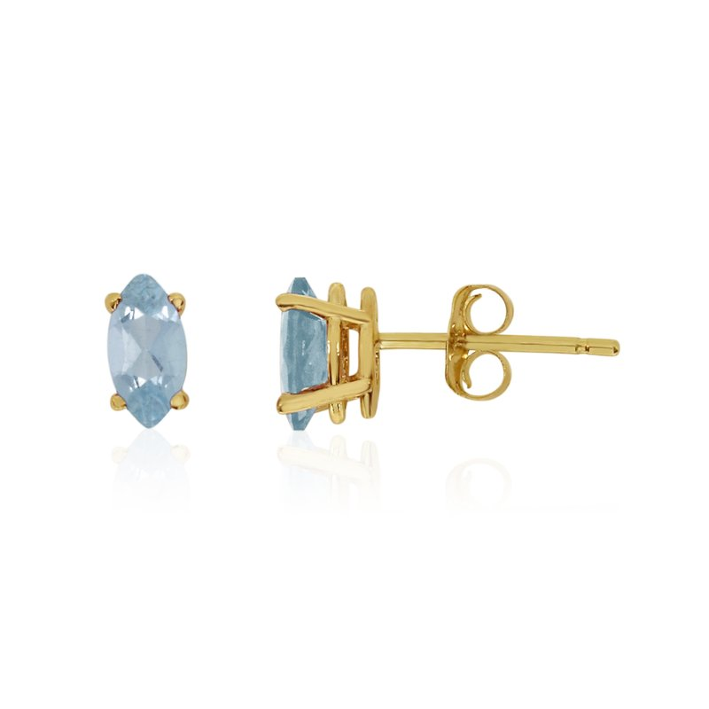 Color Merchants 14k Yellow Gold Aquamarine Marquise Earrings