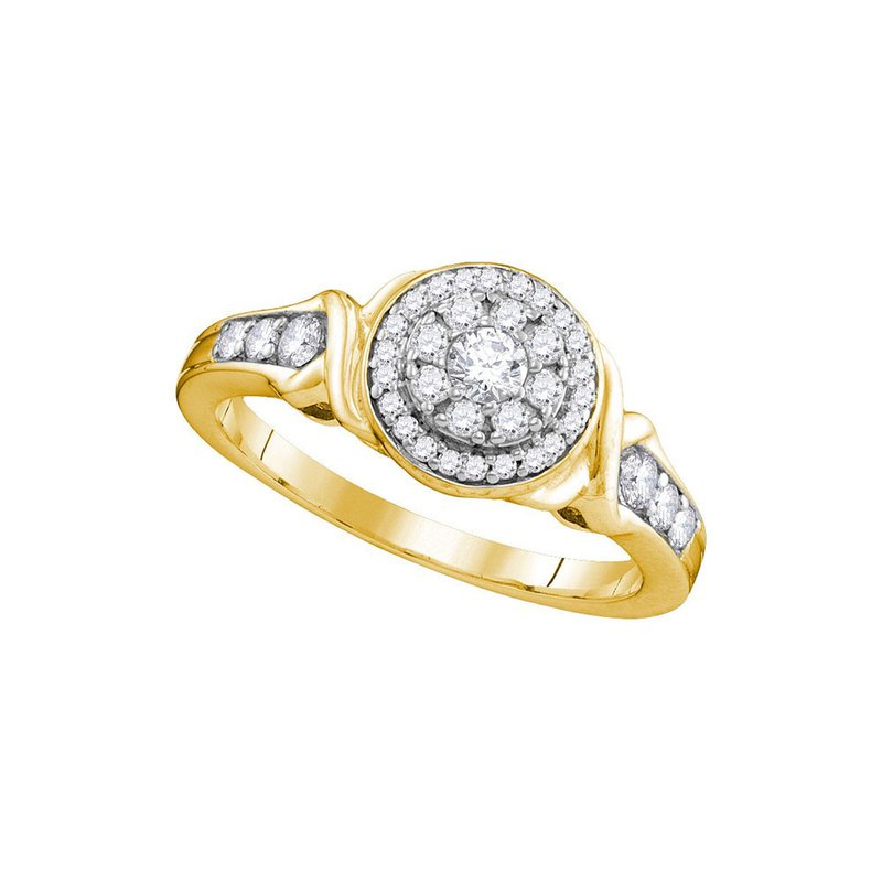Kingdom Treasures 10k Yellow Gold Womens Round Diamond Halo Bridal Wedding Engagement Ring 1/2 Cttw
