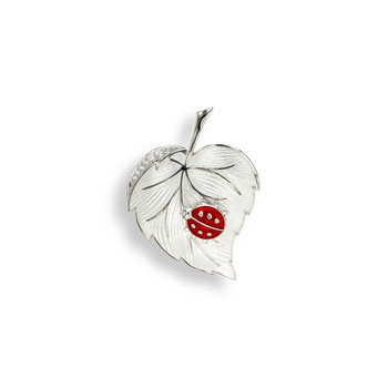 White Ladybug Brooch-Pendant.Sterling Silver-White Sapphires