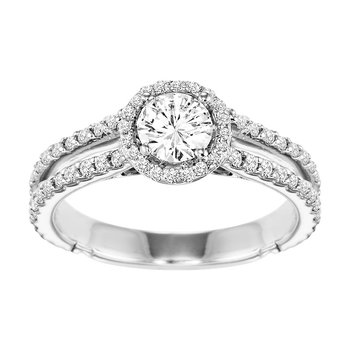 14K Diamond Engagement Ring 5/8 ctw With 1/2 ct Center Diamond