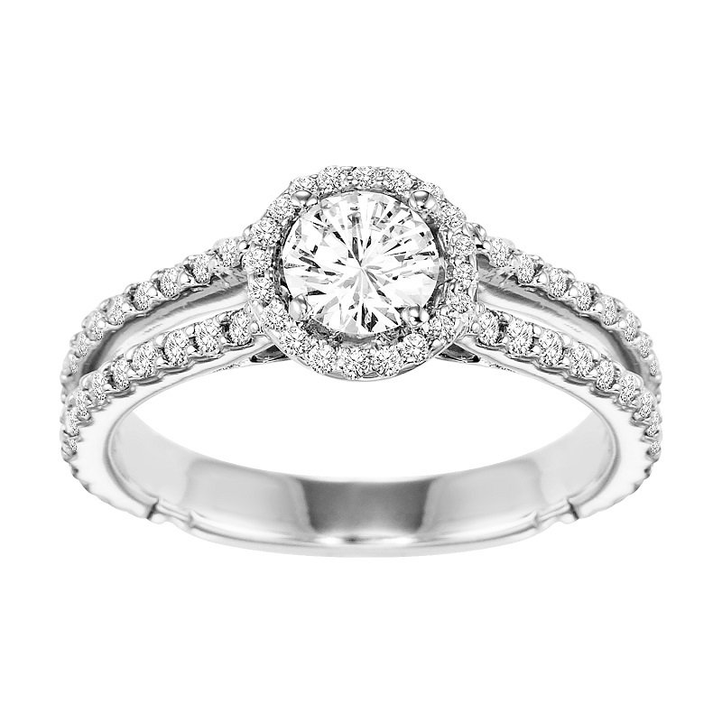 Bridal Bells 14K Diamond Engagement Ring 5/8 ctw With 1/2 ct Center Diamond