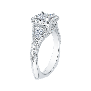 18K White Gold Princess Diamond Halo Engagement Ring with Split Shank (Semi-Mount)