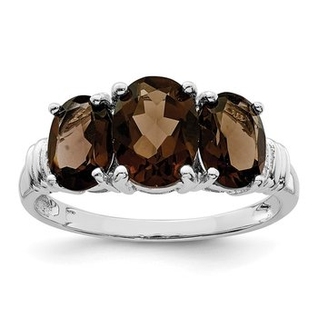 Sterling Silver Rhodium 3 Stone Smoky Quartz & Diamond Ring