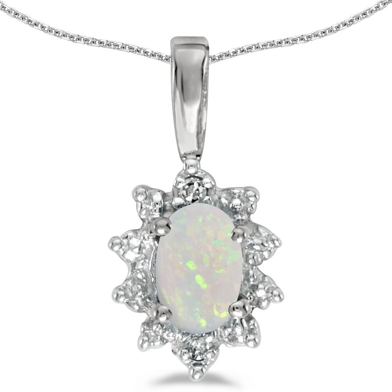 Color Merchants 10k White Gold Oval Opal And Diamond Pendant
