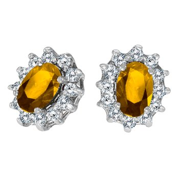 14k White Gold Oval Citrine and .25 total ct Diamond Earrings