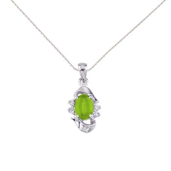 14k White Gold Oval Peridot And Diamond Pendant