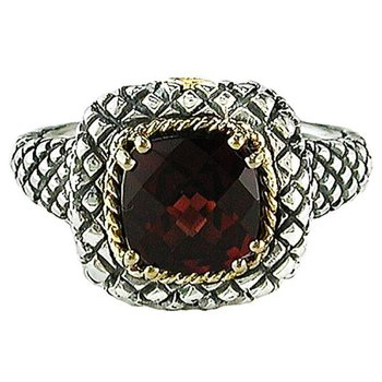 18kt and Sterling Silver Cushion Garnet Button Ring