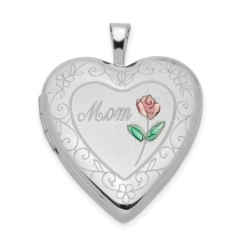 Sterling Silver Rhod-plated 20mm D/C & Enameled Mom Rose Heart Locket