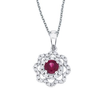 14k White Gold Ruby and Diamond Round Wave Pendant