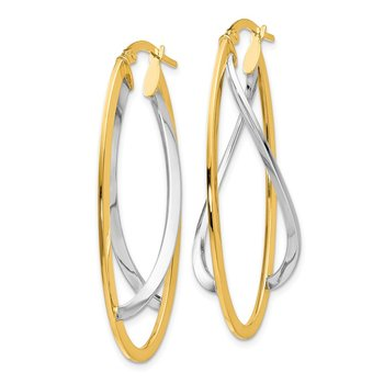 Leslie's 14K Two-tone Polished Fancy Hinged Hoop Earrings