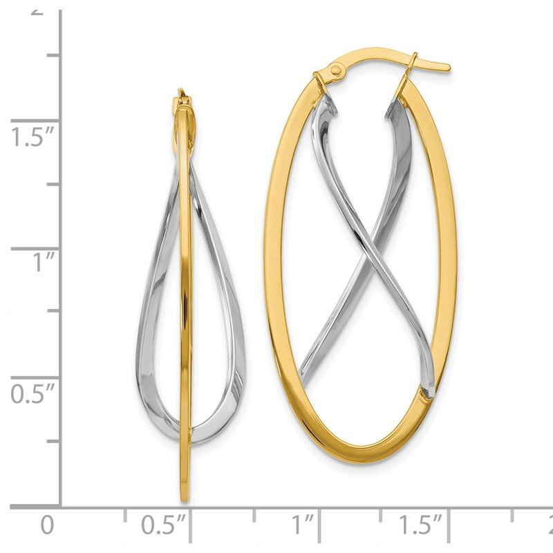 Leslie's Leslie's 14K Two-tone Polished Fancy Hinged Hoop Earrings