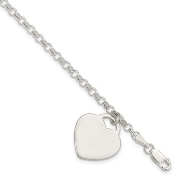 Sterling Silver Engraveable Heart Charm Bracelet
