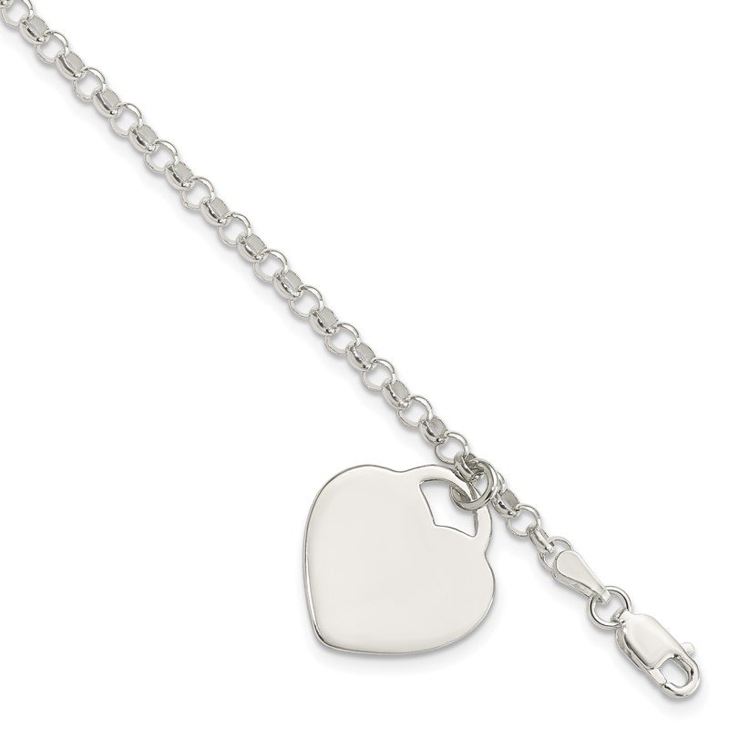 Quality Gold Sterling Silver Engraveable Heart Charm Bracelet